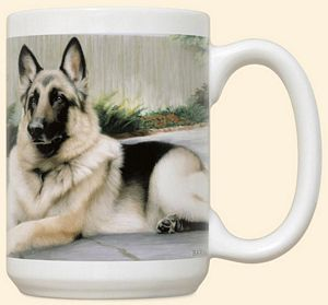 German Shepherd On Porch Mug by Fiddler's Elbow - C8FE
