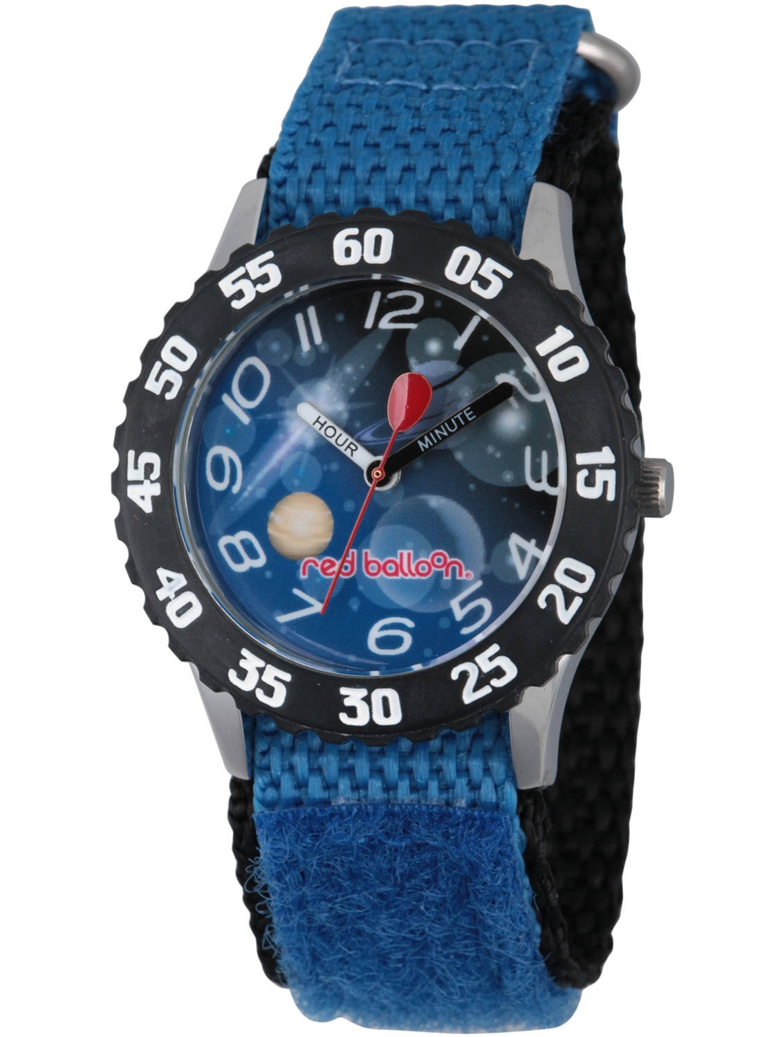 Space Boys' Stainless Steel Time Teacher Watch, Black Bezel, Blue Hook and Loop Nylon Strap with Black Backing