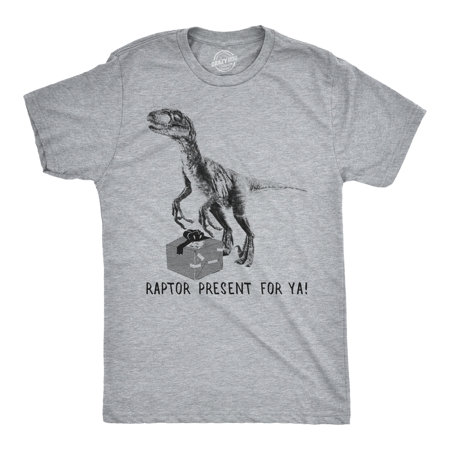 Mens Raptor Present For Ya Tshirt Funny Christmas Dinosaur Tee For Guys ()