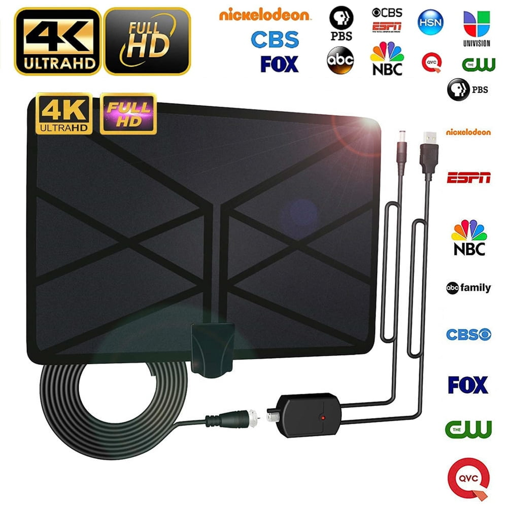 4K 1080P 60-120 Miles Antenna with Amplifier Signal for VHF//UHF Radio Reception Local Channels Support Digital Signal TV KLHY Indoor HDTV Aerial