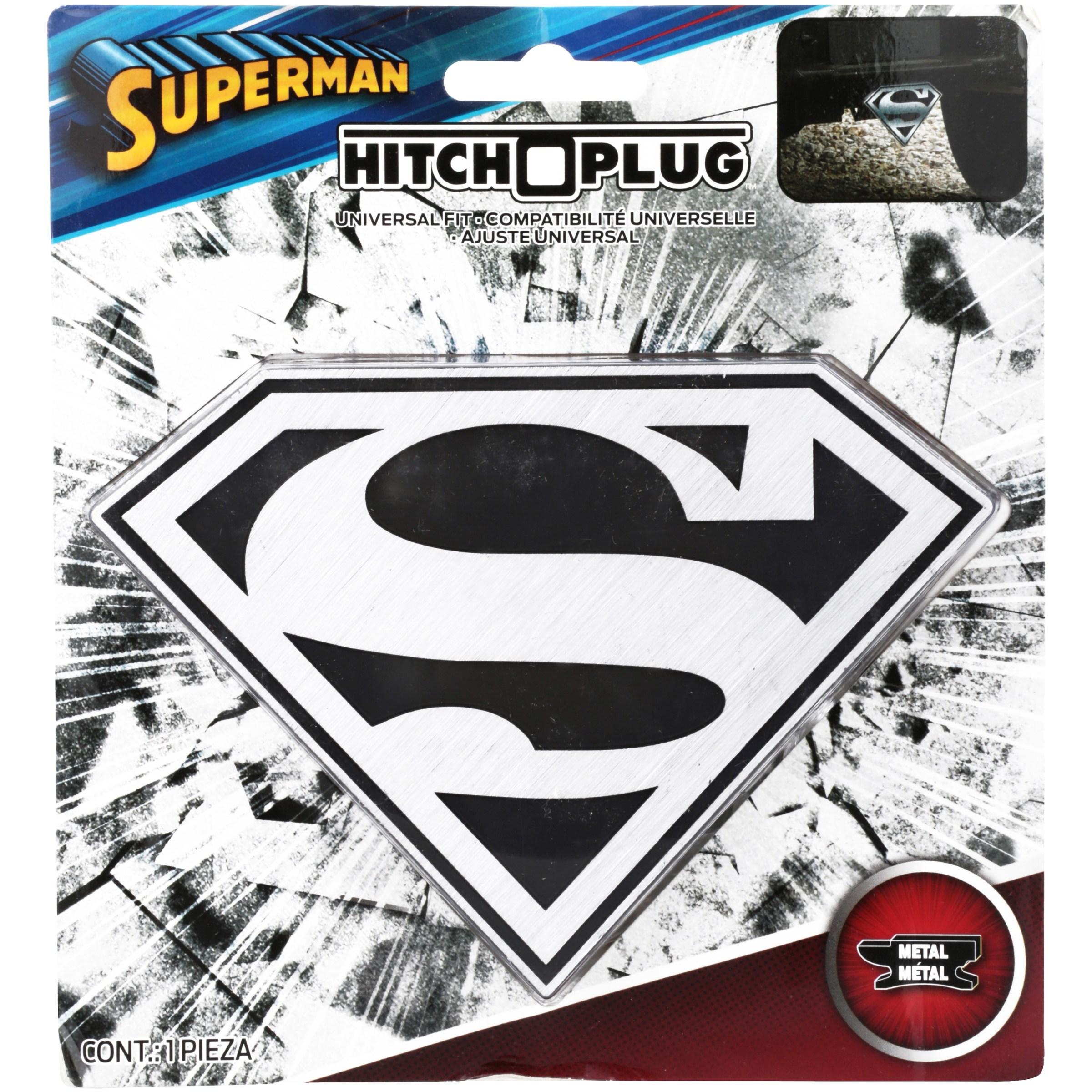 Graphics and More Superman Classic S Shield Logo Tow Trailer Hitch Cover Plug Insert