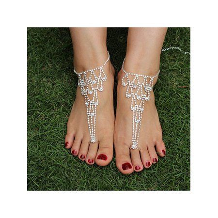 Foot Jewelry, Coxeer Bridal Rhinestones Beach Toe Ring Anklet Clear Crystal Barefoot Sandals for Women Girls, 1Pc ()