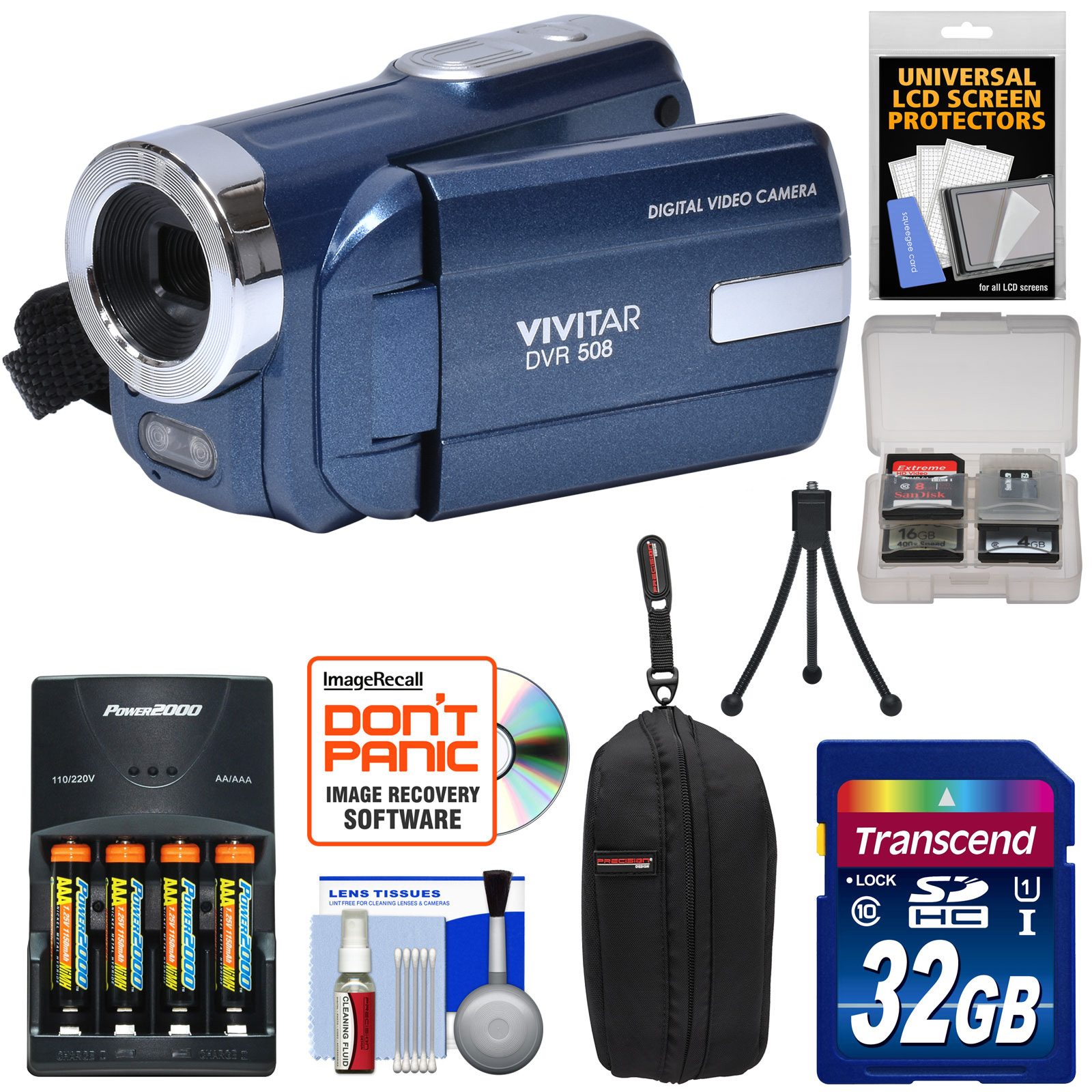 Vivitar DVR-508 HD Digital Video Camera Camcorder (Blue) with 32GB Card + Batteries & Charger + Case + Tripod + Kit