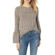 Lucky Brand   Printed Hacci Bell Sleeve Peasant Top   Pink