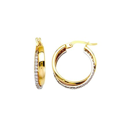 14k Yellow And White Gold Cubic Zirconia Hoop Earrings