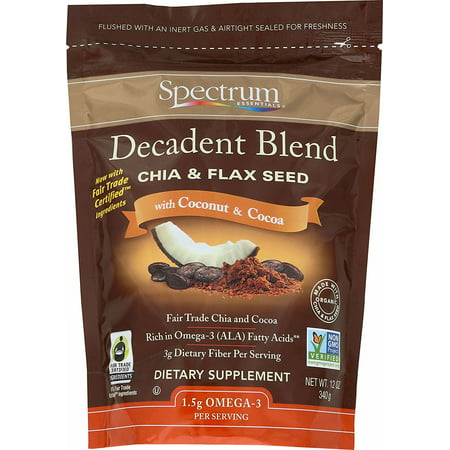 Spectrum Essentials Decadent Blend Chia & Flaxseed with Coconut & Cocoa, 12 (Chia Seeds And Coconut Oil For Energy)