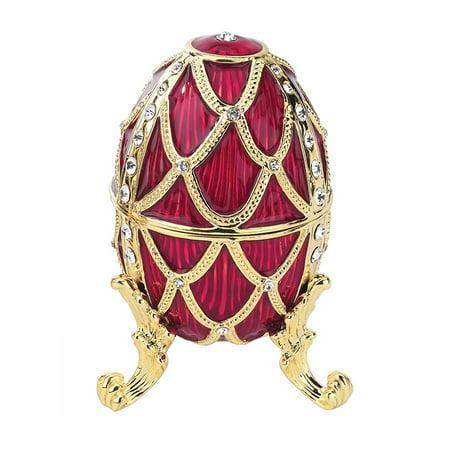 Golden Trellis Faberge Style Enameled Eggs: Rouge Egg ()
