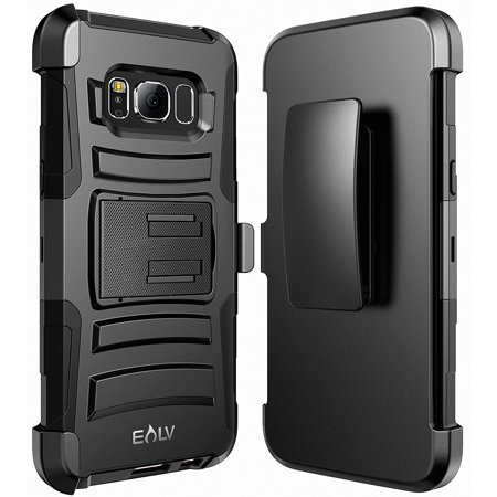 Galaxy S8 Case, E LV Belt Swivel Clip / Kickstand - Dual Layer Armor Holster Defender Full Body Protective Case Cover for Samsung Galaxy S8 - [BLACK]