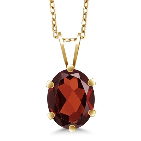 January Birthstone Pendant (1.40 Ct Oval Shape Red Garnet Yellow Gold Plated Silver Pendant + 18 Inch)