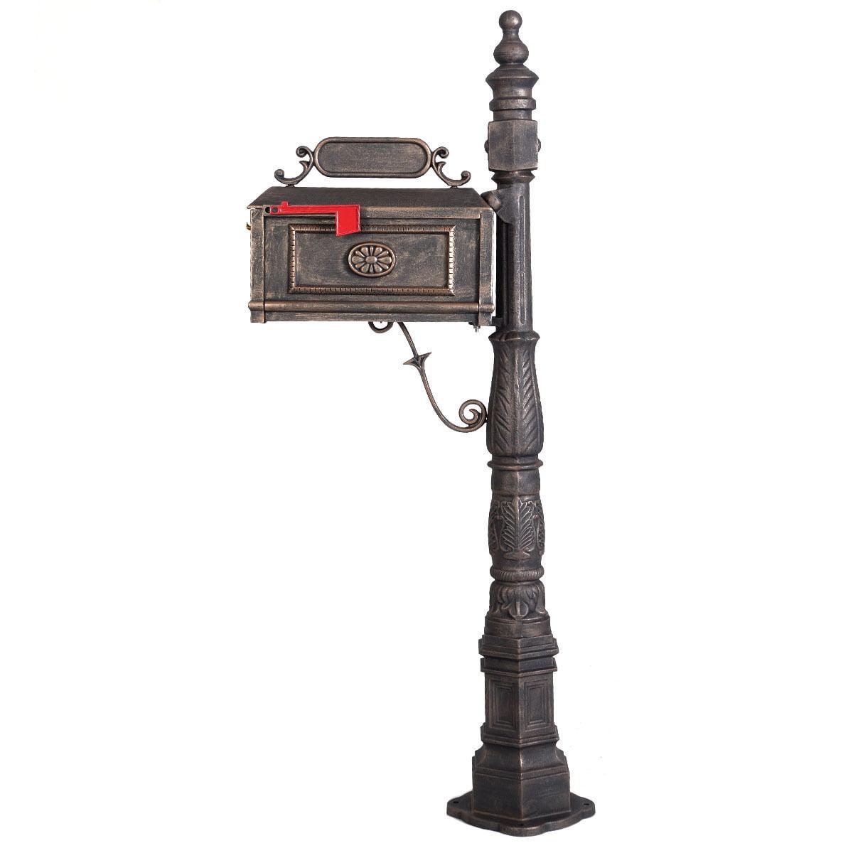 Costway Classic Decorative Cast Aluminum Mail Box Mailboxs Postal Box Vertical Pedestal... by Costway