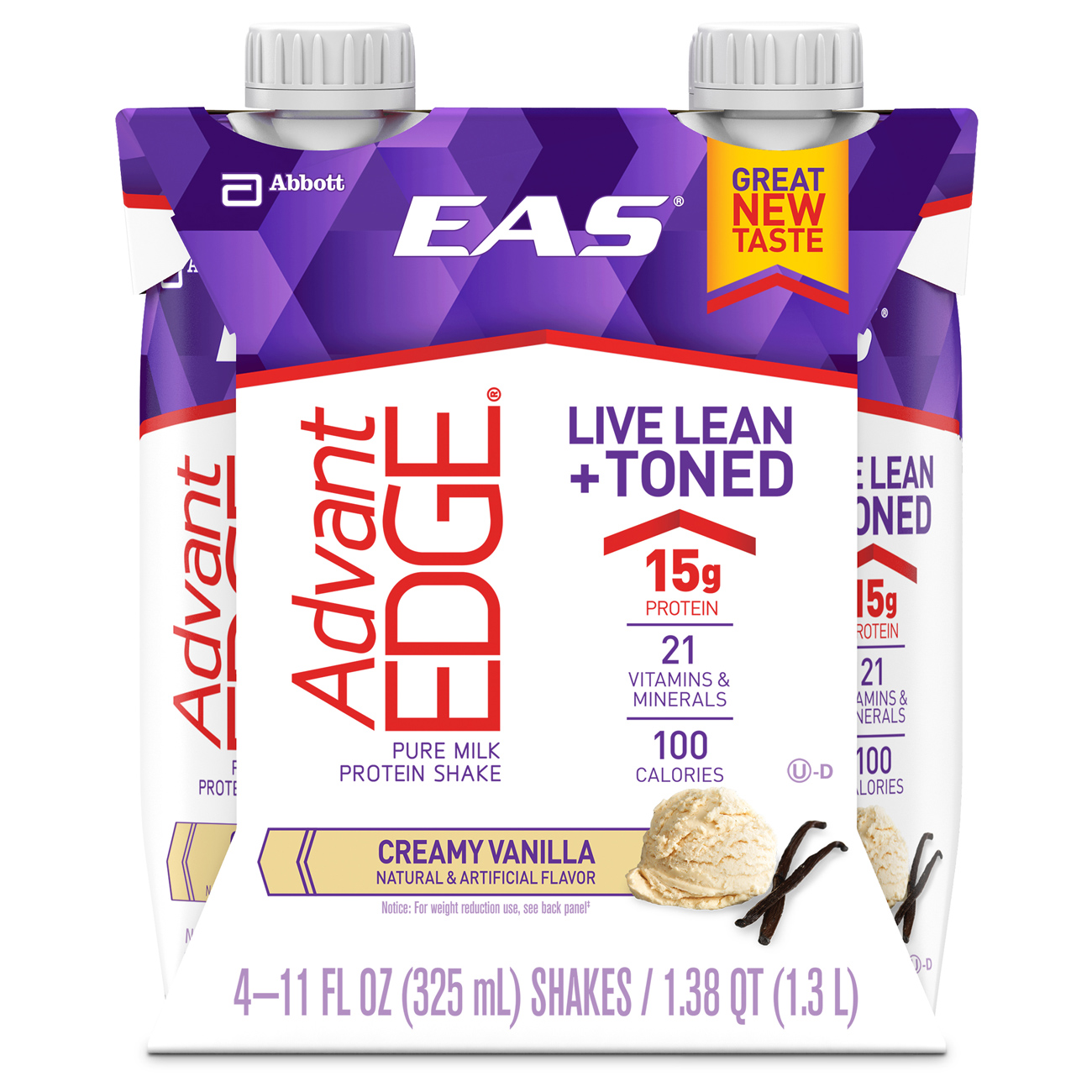 EAS AdvantEDGE Carb Control Ready-to-Drink Shake, Creamy Vanilla, 11 fl oz (Pack of 4)