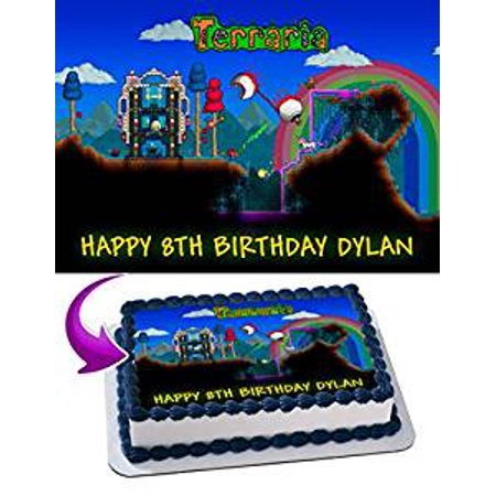 Terraria Edible Cake Image Topper Personalized Icing Sugar Paper A4 Sheet Edible Frosting Photo Cake 1/4 Edible Image for cake - Terraria Best Accessories