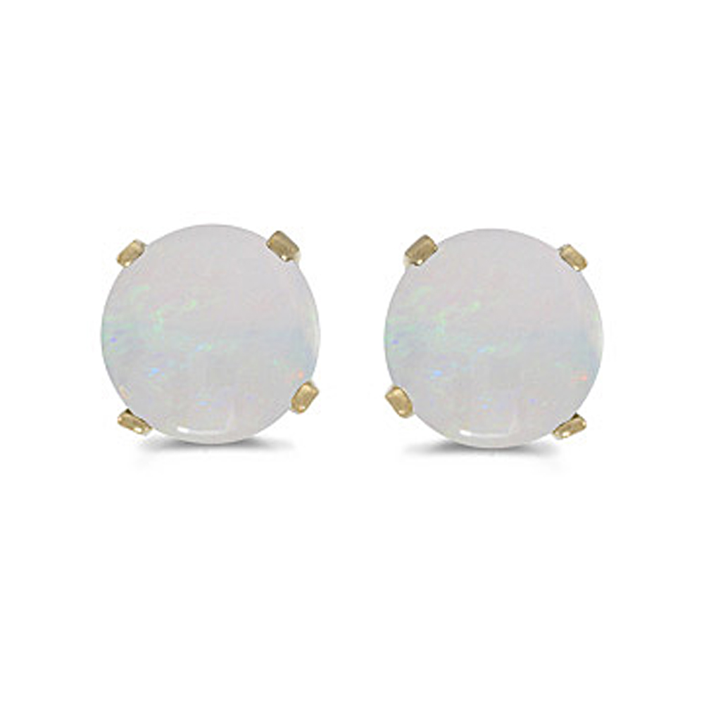 Natural 5 MM Opal Earring Studs in 14K Yellow Gold Prong Set by Katarina
