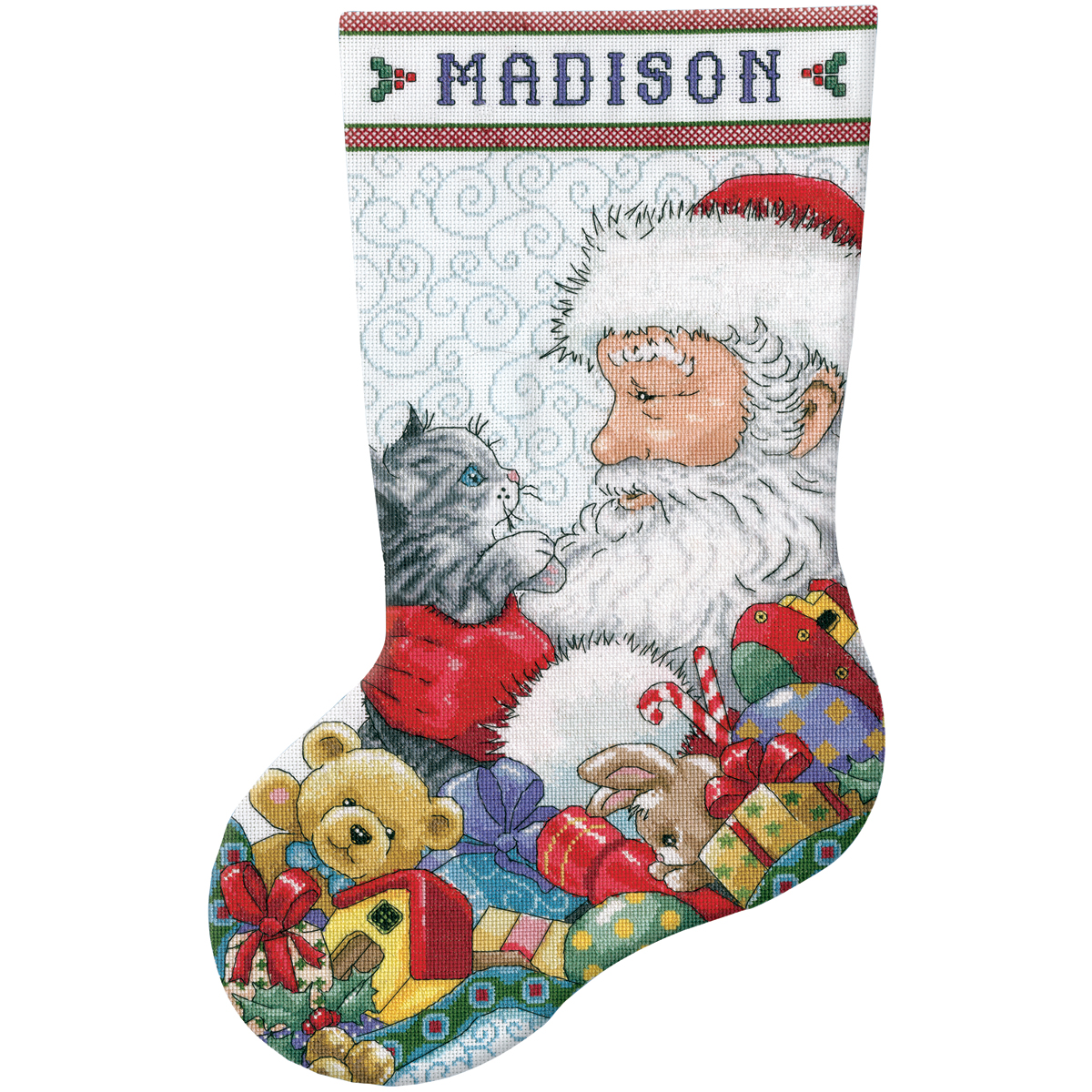 "Santa & Kitten Stocking Counted Cross Stitch Kit, 17"" Long 14-count"