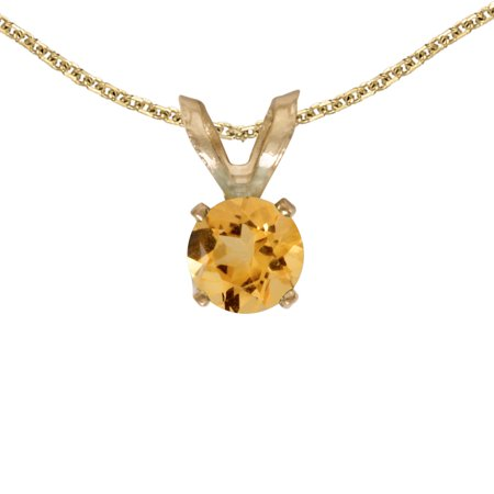 "14k Yellow Gold Round Citrine Pendant with 18"" Chain"