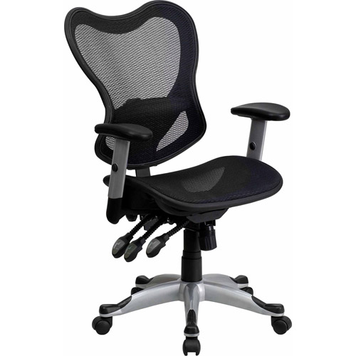 Mid-Back Mesh Chair with Triple Paddle Control, Black