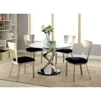 Furniture of America Halliway 5-Piece Round Dining Set in Satin