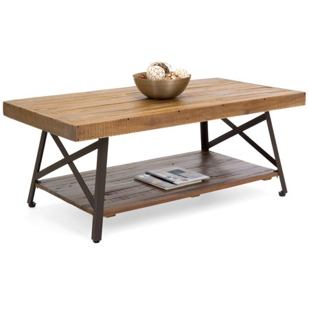 Best Choice Products Living Room Acacia Rustic Wooden Cocktail Coffee Accent Table Decor w/ Sturdy Metal Legs, Bottom Storage Shelf - Brown (Brown Leather Cocktail Coffee Table)