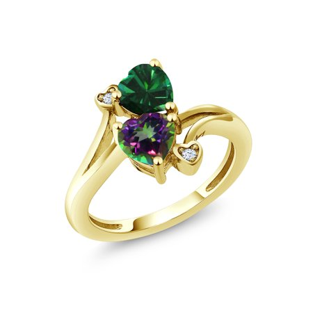 1.66 Ct Green Simulated Emerald Green Mystic Topaz 18K Yellow Gold Plated Silver (Mystic Green Fire Topaz Solitaire)