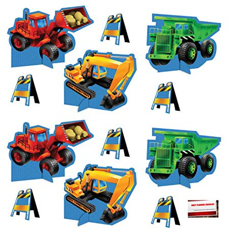 (12 Pack) Under Construction Zone Tractor Backhoe Dump Truck Bulldozer Birthday Supplies Pop up Centerpieces (Plus Party Planning Checklist by Mikes Super Store) - Tractor Birthday Supplies