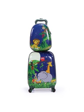 """Jaxpety 2Pc Kids Carry-on Luggage and Backpack Upright Hard Side Hard Shell Suitcase 12"""" 16"""" Luggage for Toddler"""