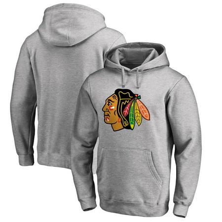 Chicago Blackhawks Fanatics Branded Primary Logo Pullover Hoodie - Gray
