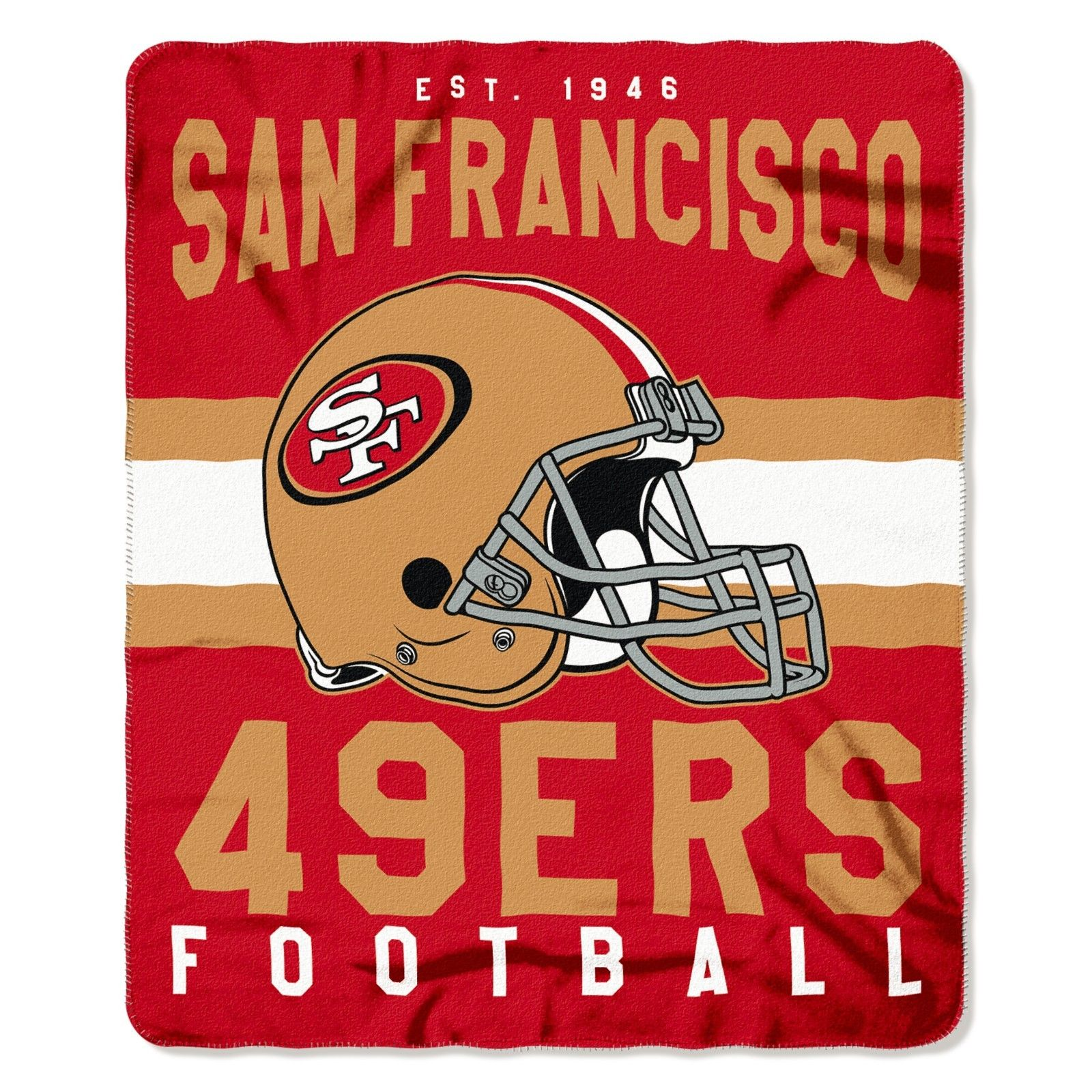 """NFL San Francisco 49ers Singular 50-Inch by 60-Inch Printed fleece Throw Blanket, Red, 50-inches x 60"""""""
