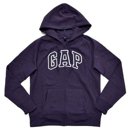Logo Zip Hoody Sweatshirts - GAP Womens Fleece Arch Logo Full Zip Hoodie (XS, Dark Purple)