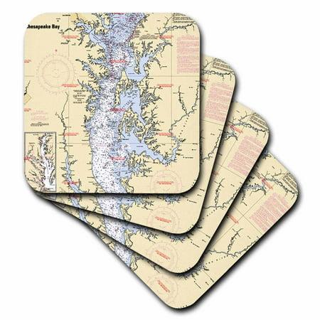 - 3dRose Print of Nautical Chart Chesapeake Bay, Ceramic Tile Coasters, set of 4
