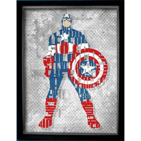 Marvel Printed Glass Captain America Shadowbox Frame