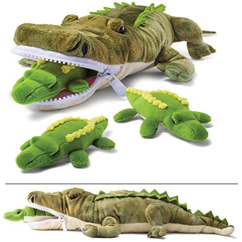 Prextex Plushlings Plush Crocodile with 3 Little Plush Baby Crocodiles Stuffed Animals Playset
