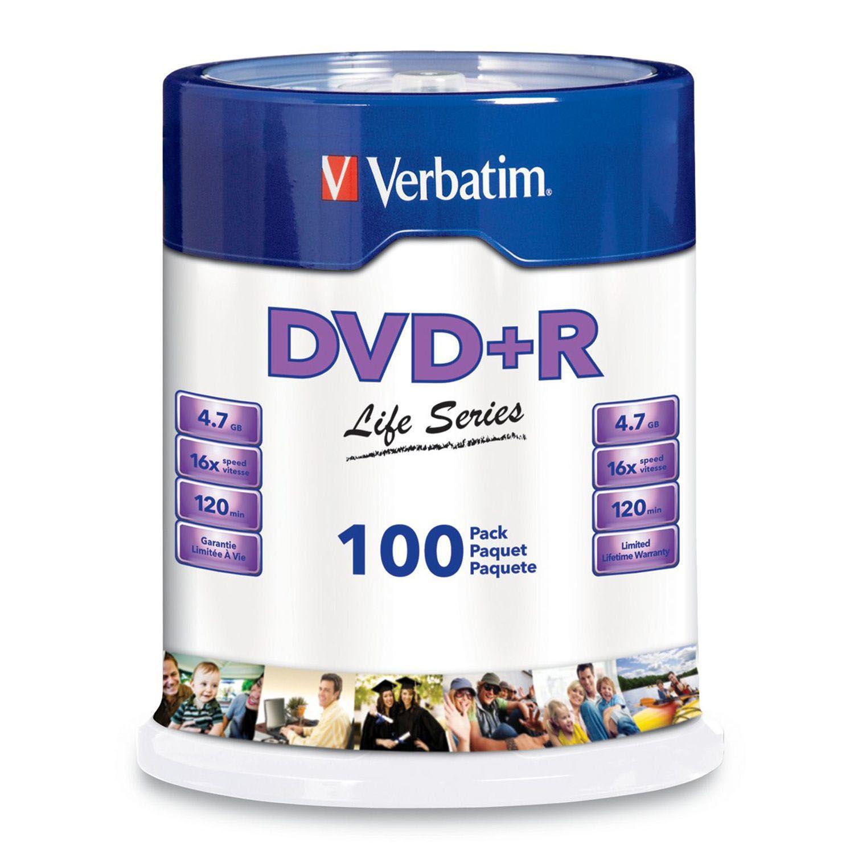Verbatim DVD+R Life Series 4.7GB 16x, 100 Pack