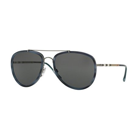 17225c239bcd Burberry - Sunglasses Burberry BE 3090Q 100887 BRUSHED GUNMETAL BLUE HAVANA  - Walmart.com