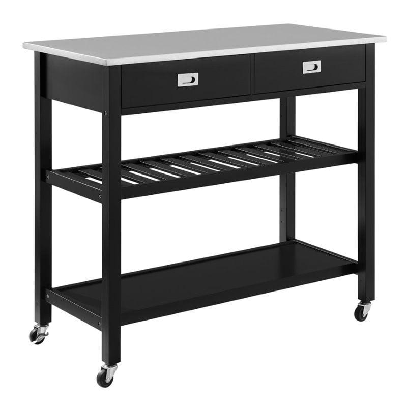Crosley Chloe Stainless Steel Top Kitchen Cart In Black Walmart Canada