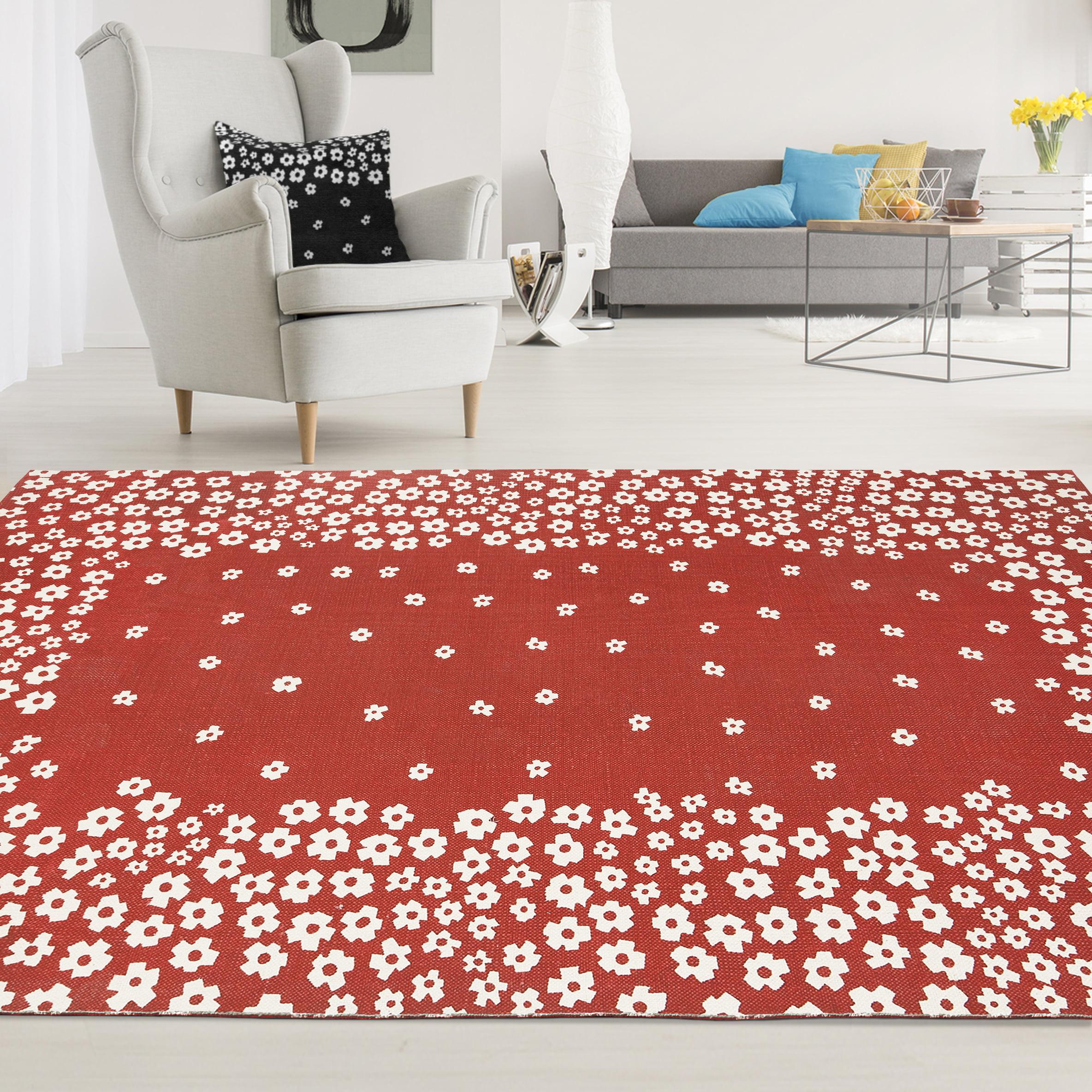 Superior Wildflower 100-Percent Cotton Printed Area Rug - Burgundy