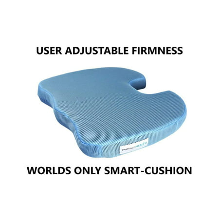 Premium Self-Inflating Seat SMART CUSHION USER ADJUSTABLE Comfort NEVER BOTTOMS OUT Coccyx Cutout Relieves Sciatica Pain ()