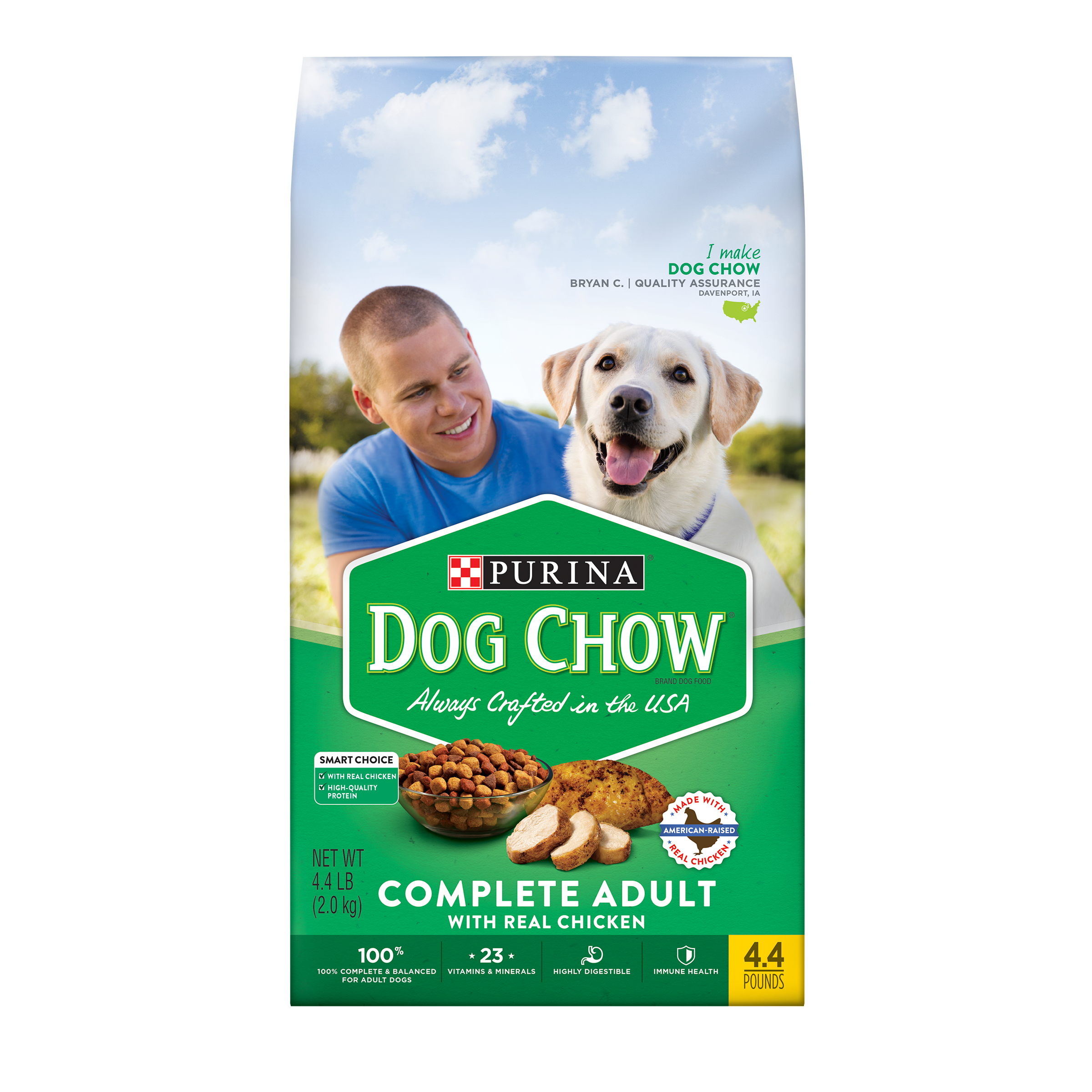 Purina Dog Chow Dry Dog Food; Complete Adult With Real Chicken - 4.4 lb. Bag