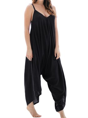 Women V-Neck Spaghetti Strap Solid Wide Leg Jumpsuits Loose Rompers