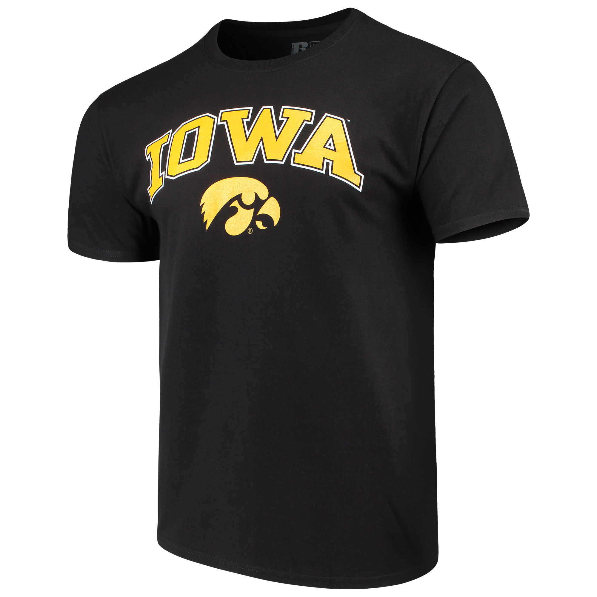 Men's Russell Black Iowa Hawkeyes Crew Core Print T-Shirt