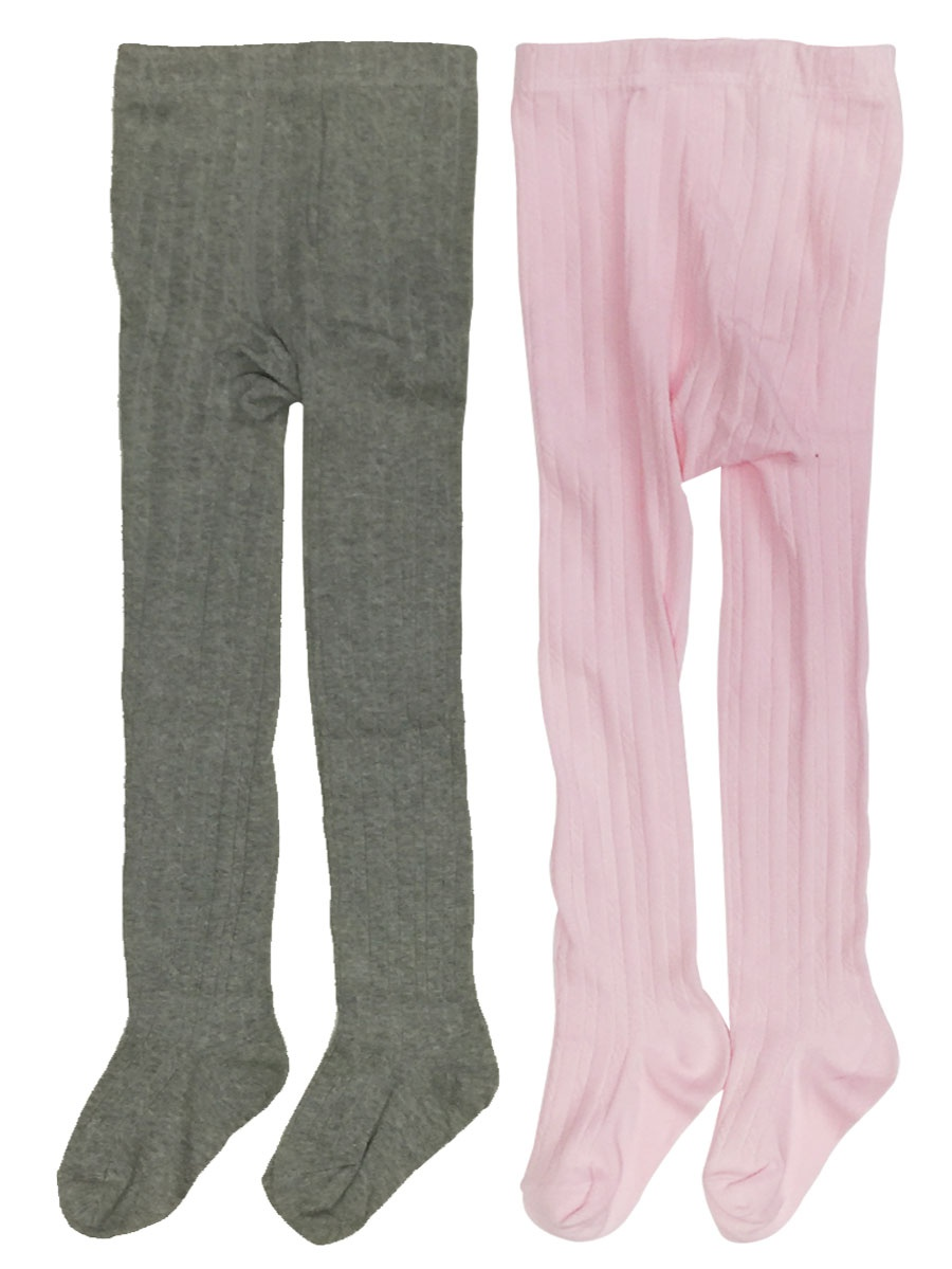 Wrapables® Pink and Gray Thick Winter Cotton Ribbed Tights for Girls (Set of 2), 2-3 Years