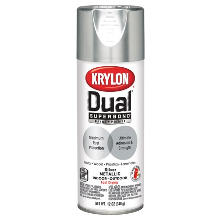Krylon® Dual Superbond Paint + Primer Silver Metallic Spray Paint, 12-Oz (Uv Reactive Spray Paint)