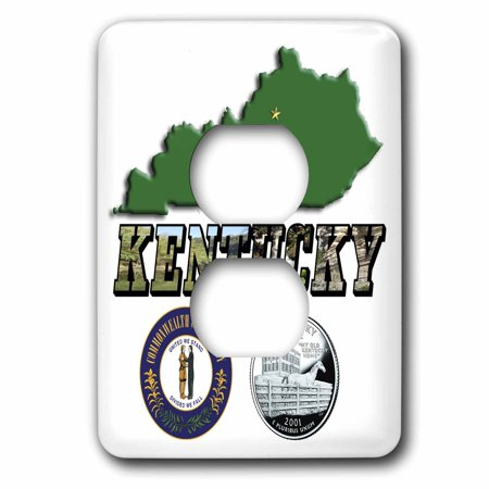 3dRose State Map, Seal, Quarter and Picture Text of Kentucky - 2 Plug Outlet Cover (lsp_55439_6)