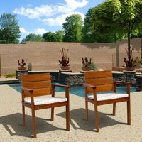 Philipe Eucalyptus Easy Carver 2-Piece Chair Set with Cushions, Brown