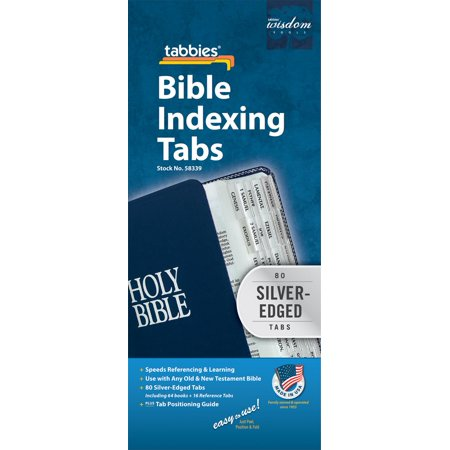Bible Tab : Clear Tab with Silver Center Strip and Black Lettering - Silver And Black