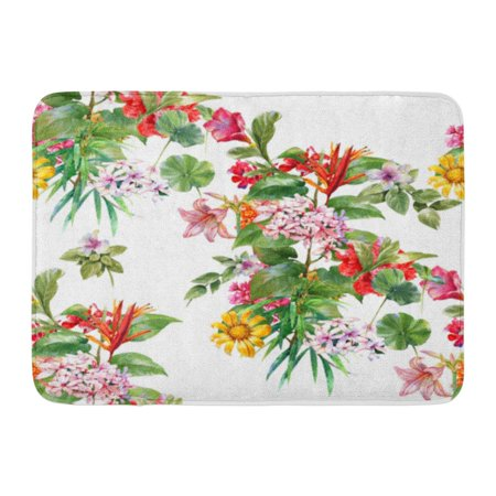 GODPOK Colorful Floral Red Tropics Watercolor Leaf Flowers on White Black Summer Green Spring Rug Doormat Bath Mat 23.6x15.7 inch
