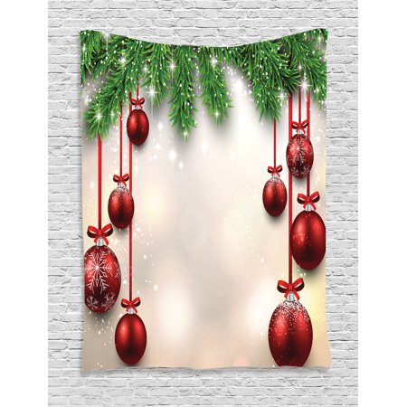 Christmas Tapestry, Xmas Traditional Winter Season Theme Fir Twigs and Vibrant Balls Graphic Print, Wall Hanging for Bedroom Living Room Dorm Decor, Green Red, by - Winter Ball Theme Ideas
