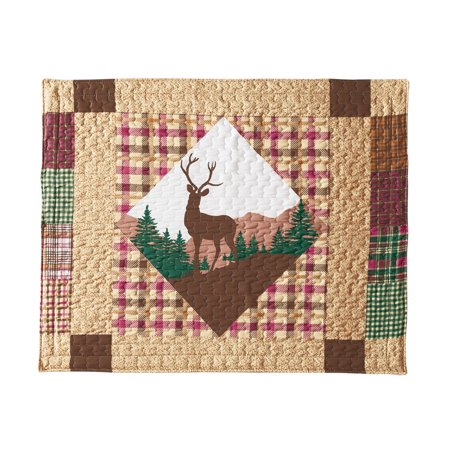Patchwork Woodland Lodge Plaid Pillow Shams with All-Over Stitching - Cabin Decor Featuring Deer, Moose, and Bears (Cabin Bear Pillow Sham)