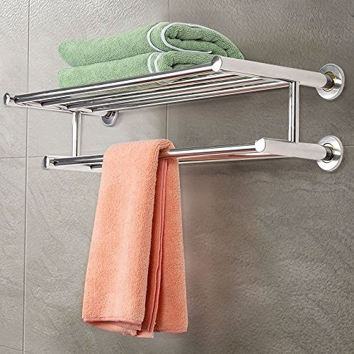Towel Rail Holder Shelf Wall Mounted Home Bathroom Storage Rack Stainless steel Bathroom Towel Storage Equipment