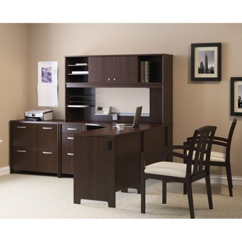 Bush Envoy L-Shaped Desk and Hutch with Optional Lateral Filing Cabinet