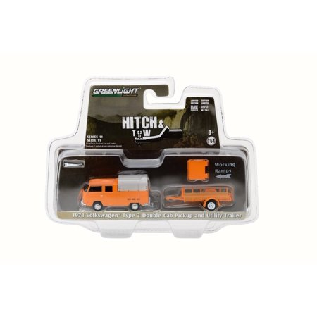 1978 Volkswagen Type 2 Double Cab Pickup with Canopy and Utility Trailer, Orange - Greenlight 32110A - 1/64 Scale Diecast Model Toy Car - Halloween 1978 Trailer Hd